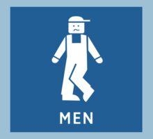 Men Toilet Sign, California, USA One Piece - Short Sleeve
