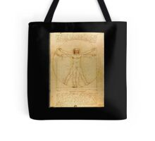 Leonardo da Vinci, The Vitruvian Man, c. 1485, Accademia, Venice, on BLACK Tote Bag