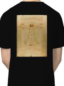 Leonardo da Vinci, The Vitruvian Man, c. 1485, Accademia, Venice, on BLACK Classic T-Shirt
