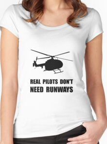 Helicopter Pilot Runways Women's Fitted Scoop T-Shirt
