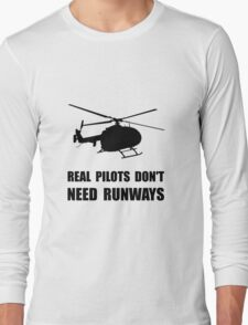 Helicopter Pilot Runways Long Sleeve T-Shirt