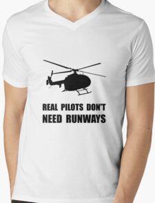 Helicopter Pilot Runways Mens V-Neck T-Shirt