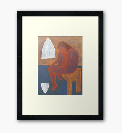 SITTING BY THE WINDOW Framed Print