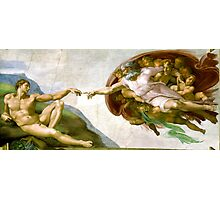 Michelangelo, The Creation of Adam, 1510, Genesis, ceiling, Sistine Chapel, Rome, Touch of God Photographic Print