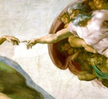 Michelangelo, The Creation of Adam, 1510, Genesis, ceiling, Sistine Chapel, Rome, Touch of God Sticker