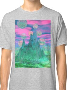 Poetic Mountain at Dawn, Glorious Pink Green Sky Classic T-Shirt