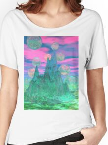 Poetic Mountain at Dawn, Glorious Pink Green Sky Women's Relaxed Fit T-Shirt