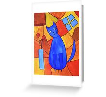 Whimsical Blue Cat And Red Poppies Greeting Card