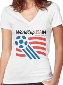 FIFA World Cup 94 USA Women's Fitted V-Neck T-Shirt