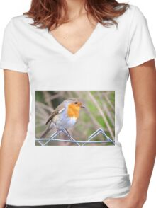 Robin Perching On Wire Fence Women's Fitted V-Neck T-Shirt
