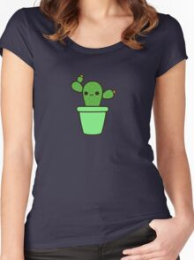 Cute cactus in green pot Women's Fitted Scoop T-Shirt
