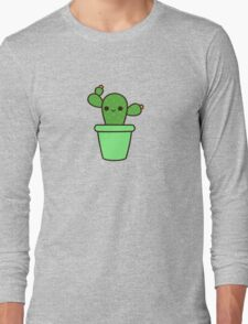 Cute cactus in green pot Long Sleeve T-Shirt