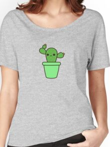 Cute cactus in green pot Women's Relaxed Fit T-Shirt