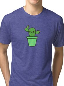 Cute cactus in green pot Tri-blend T-Shirt