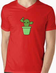 Cute cactus in green pot Mens V-Neck T-Shirt