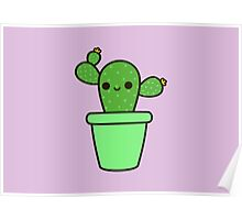 Cute cactus in green pot Poster