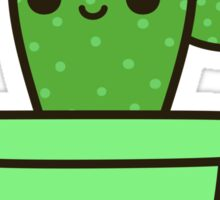 Cute cactus in green pot Sticker