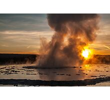 Great Fountain Geyser Sunset - Yellowstone National Park Photographic Print