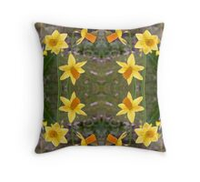 Daffodils and Spring Fabrics Throw Pillow