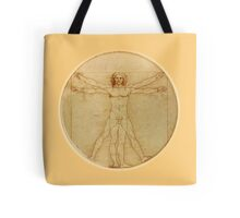 LEONARDO, Da Vinci, The Vitruvian Man, CIRCLE, c.1485, Accademia, Venice, on BLACK Tote Bag