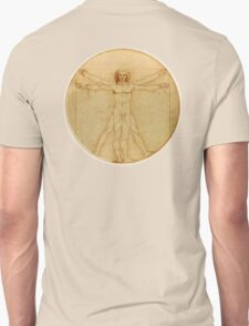 Leonardo da Vinci, The Vitruvian Man, CIRCLE, c.1485, Accademia, Venice, on BLACK T-Shirt
