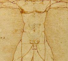 Leonardo, da Vinci, The Vitruvian Man, CIRCLE, c.1485, Accademia, Venice, on BLACK Sticker
