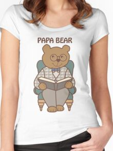Papa Bear Reading Women's Fitted Scoop T-Shirt