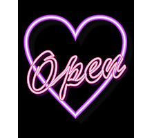 neon tube light typography open pink heart  Photographic Print
