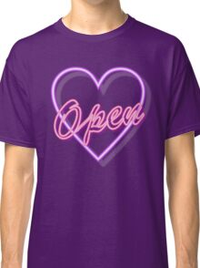 neon tube light typography open pink heart  Classic T-Shirt
