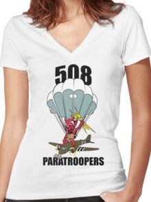 508 PARATROOPERS CARTOON Women's Fitted V-Neck T-Shirt