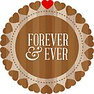 Wood Texture Hearts Circle-Forever & Ever Valentines Design by artonwear