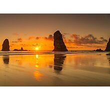 Beautiful Orange Sunset at The Needles - Haystack Rock - Cannon Beach, Oregon Photographic Print