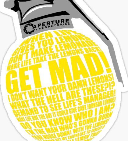 Portal 2 Cave Johnson Combustible lemon quote Sticker