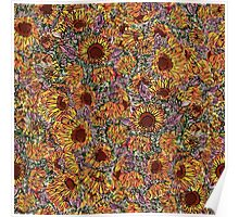 Sunflower repeating pattern Poster