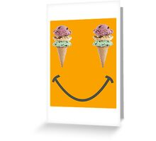 happy summer ice cream cone yellow smiley face Greeting Card