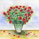 Red Roses in a Vase by CarolineLembke