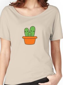Cute cactus in orange pot Women's Relaxed Fit T-Shirt