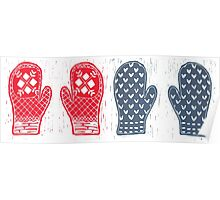 Red And Blue Nordic Designed Mittens Poster