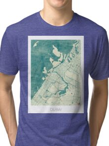 Dubai Map Blue Vintage Tri-blend T-Shirt