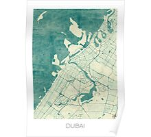 Dubai Map Blue Vintage Poster