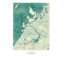 Dubai Map Blue Vintage Photographic Print