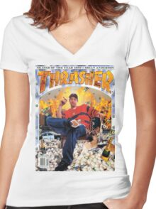 Thrasher Brian Anderson 1999 Women's Fitted V-Neck T-Shirt