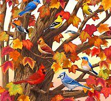Autumn Maple Tree Bird Gathering by csforest