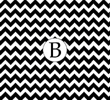 B Black Chevron by MonogramMonkey