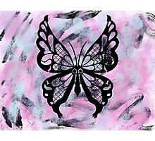 Black Butterfly Pastel Abstract Background Photographic Print