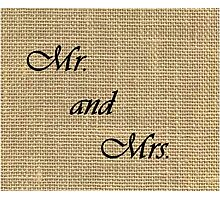 Mr. and Mrs. on Burlap Photographic Print