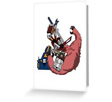 Voltron vs Robeast Cartoon Greeting Card