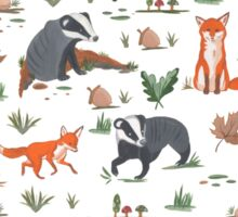 Fox and Badger Pattern  Sticker