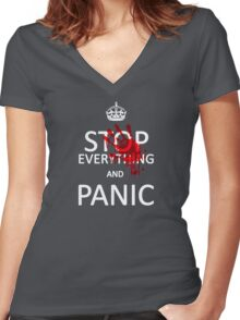 Stop Everything and Panic Women's Fitted V-Neck T-Shirt