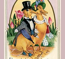 Easter Greetings cute Victorian ducks couple and verse by aapshop